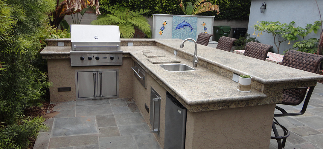 Outdoor BBQ and Water Feature - Gemini 2 Landscape Construction