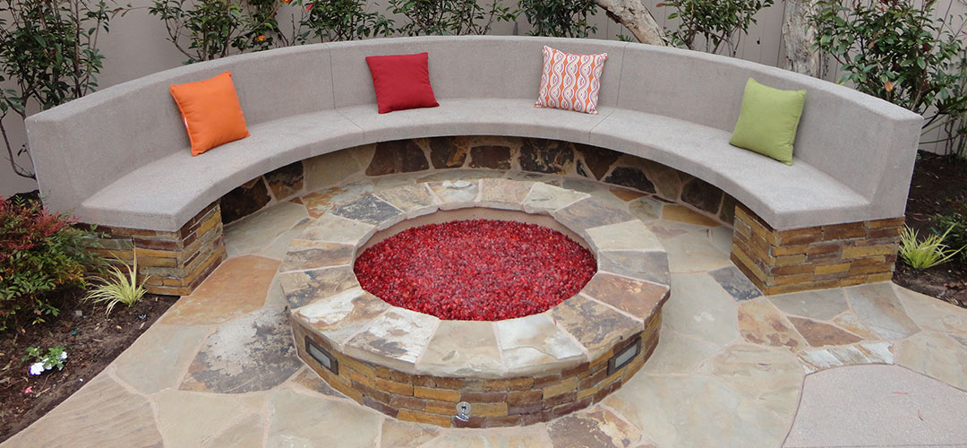 Stone Fire Pit and Bench - Gemini 2 Landscape Construction