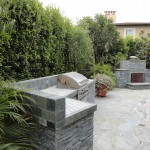 Stone Fireplace and Sport Court - Gemini 2 Landscape Construction